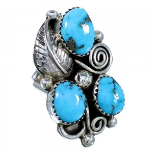 Native American Turquoise And Sterling Silver Leaf Ring Size 6-1/2 SX108594