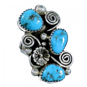 Sterling Silver Flower Navajo Turquoise Ring Size 7-1/2 SX108599