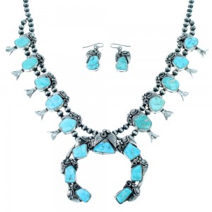 Kingman Turquoise Navajo Sterling Silver Scalloped Leaf Squash Blossom Necklace Set SX108793