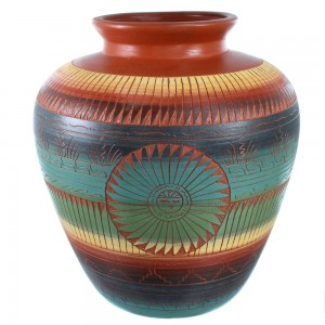 Hand Crafted Navajo Sun Pot By Artist Marilyn Kinliche SX108849