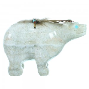 Hand Carved Alabaster Navajo Fetish Bear Figurine By Artist Ben Livingston SX108872