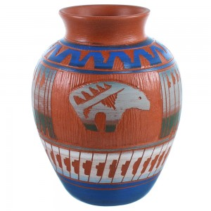 Navajo Bear Hand Crafted Pot By Artist Bernice Watchman Lee SX109032