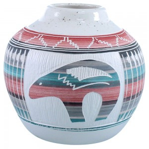 Bear Hand Crafted Navajo Pot By Artist Tamaria Arviso SX109066