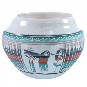 Native American Hand Crafted Hummingbird Flower Pot By Artist Tamria Arviso SX109064