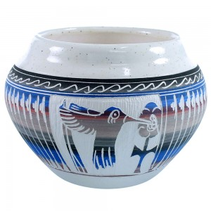 Hand Crafted American Indian Hummingbird Flower Pot By Navajo Artist Tamria Arviso SX109059