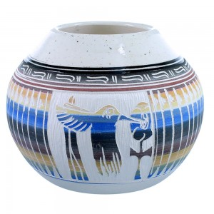 American Indian Hand Crafted Hummingbird Flower Pot By Navajo Artist Tamaria Arviso SX109051