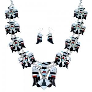 Multicolor Thunderbird Sterling Silver Zuni Squash Blossom Necklace Set SX109207