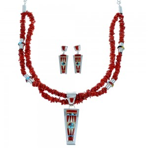 Zuni Indian Multicolor Sterling Silver 2-Strand Bead Necklace Set SX109222
