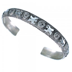 Authentic Sterling Silver Navajo Indian Water Wave Hand Cuff Bracelet RX109160