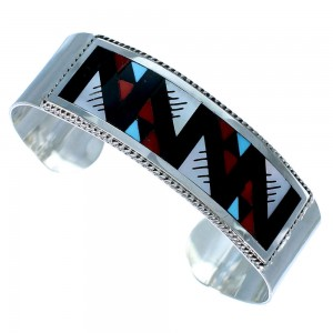 Genuine Sterling Silver Multicolor Inlay American Indian Jewelry Cuff Bracelet RX109162