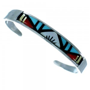 Zuni Genuine Sterling Silver Multicolor Inlay Cuff Bracelet RX109205