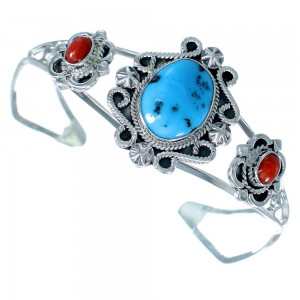 Navajo Sterling Silver Turquoise And Coral Cuff Bracelet SX109243