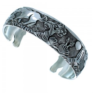 Navajo Authentic Sterling Silver Horse Cuff Bracelet SX109280