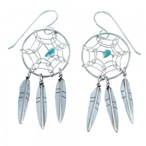 Navajo Sterling Silver Turquoise Dream Catcher Feather Hook Dangle Earrings SX109307