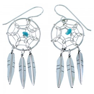 Genuine Sterling Silver Dream Catcher Feather Navajo Turquoise Hook Dangle Earrings SX109310