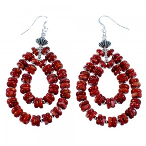 Navajo Red Oyster Shell Sterling Silver Bead Hook Dangle Earrings SX109322
