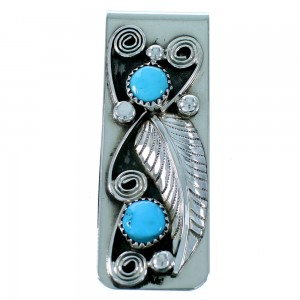 Turquoise Scalloped Leaf Sterling Silver Navajo Money Clip SX109346