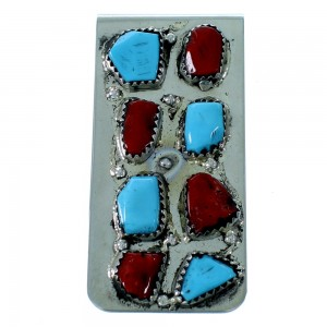 Turquoise And Coral Zuni Sterling Silver Money Clip SX109351