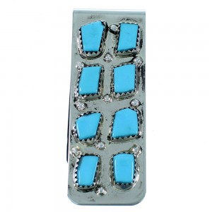 Turquoise And Sterling Silver Zuni Money Clip SX109352