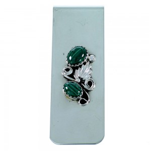 Malachite Sterling Silver Leaf Navajo Money Clip SX109348