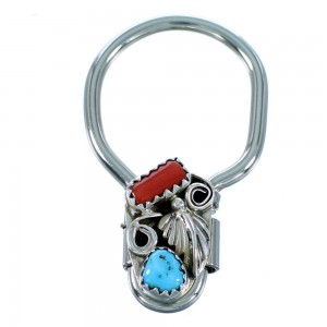 Turquoise And Coral Sterling Silver Leaf Navajo Key Chain SX108361