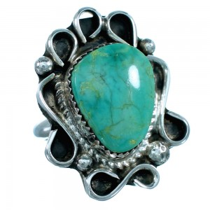 American Indian Sterling Silver Turquoise Jewelry Ring Size 7 RX109380