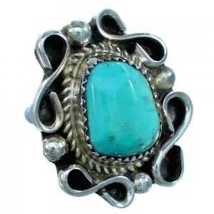 Sterling Silver American Indian Turquoise Ring Size 5 RX109386