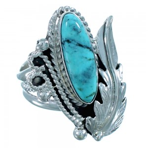 Scalloped Leaf Sterling Silver Turquoise American Indian Ring Size Size 8-1/2 RX109405