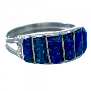 Blue Opal Inlay Authentic Sterling Silver Zuni Ring Size 6-3/4 SX109460