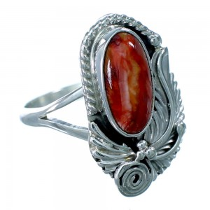 Navajo Red Oyster Shell Genuine Sterling Silver Ring Size 5-1/2 RX109536