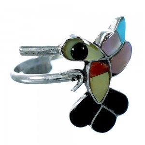 Zuni Indain Multicolor And Sterling Silver Hummingbird Ring Size 6-3/4 SX109427