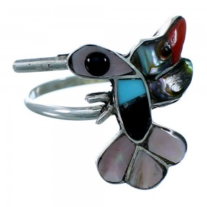 Zuni Indain Genuine Sterling Silver Multicolor Hummingbird Ring Size 6-1/2 SX109434