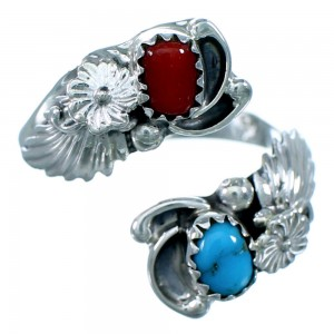 Feather Flower Coral And Turquoise Sterling Silver Navajo Adjustable Ring Size 7,8,9 RX109506