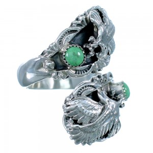 Turquoise Eagle Sterling Silver American Indian Adjustable Ring Size 8,9,10 RX109512