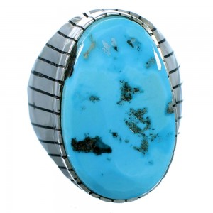 Turquoise Genuine Sterling Silver American Indian Ray Jack Ring Size 12-1/2 RX109562