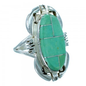 American Indian Ray Jack Sterling Silver And Turquoise Ring Size 8 RX109674