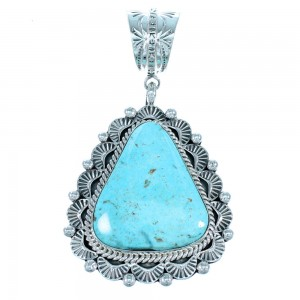 Royston Turquoise And Authentic Sterling Silver Navajo Pendant SX109563