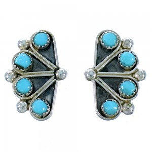 Turquoise And Authentic Sterling Silver Zuni Post Earrings SX109675