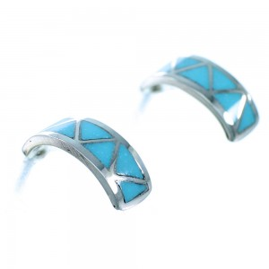 Turquoise Sterling Silver Zuni Post Hoop Earrings SX109660