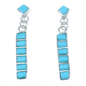 Turquoise And Authentic Sterling Silver Zuni Post Dangle Earrings SX110063