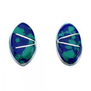 Zuni Azurite Inlay And Genuine Sterling Silver Post Stud Earrings RX109752