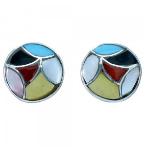Genuine Sterling Silver Multicolor Zuni Indian Post Earrings RX109779
