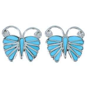 Zuni Turquoise Butterfly Sterling Silver Post Earrings RX109783