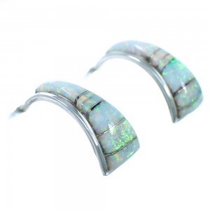 Opal Genuine Sterling Silver Zuni Inlay Post Hoop Earrings RX109787