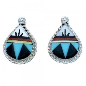 Genuine Sterling Silver Multicolor Tear Drop Zuni Post Earrings RX109792