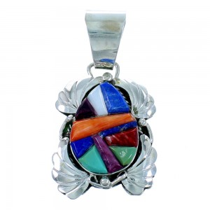 Authentic Sterling Silver Multicolor Cobble Inlay Navajo Pendant SX109743
