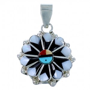 Zuni Multicolor Sun Genuine Sterling Silver Pendant SX109759