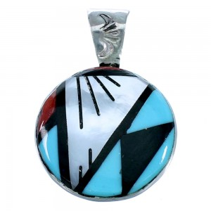 Zuni Native American Multicolor Sterling Silver Pendant SX109807