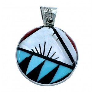 Zuni Native American Genuine Sterling Silver Multicolor Pendant SX109852