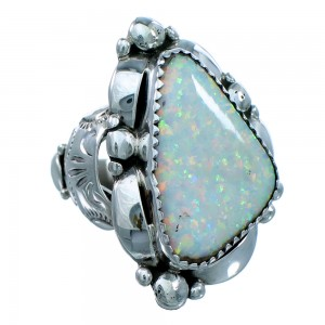 Authentic Sterling Silver Navajo Opal Ring Size 7-1/2 SX109863